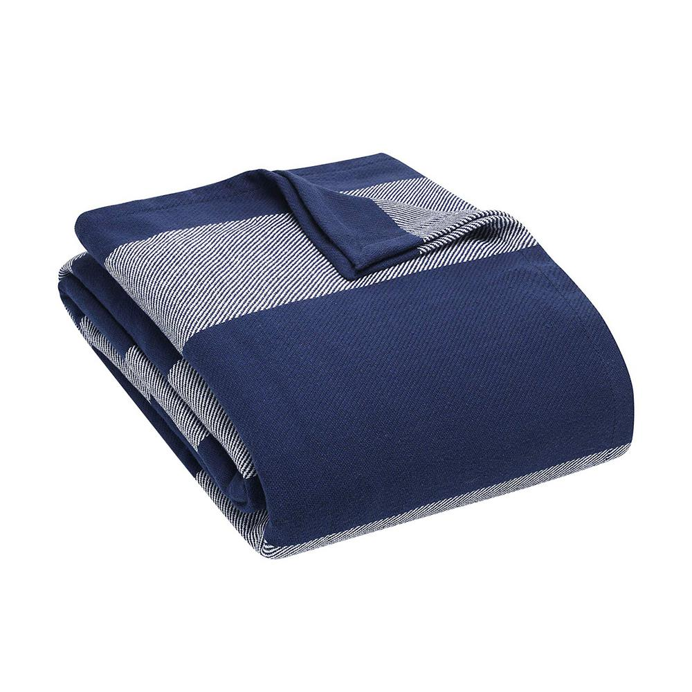 Boylston Navy Blue 100% Cotton King Blanket