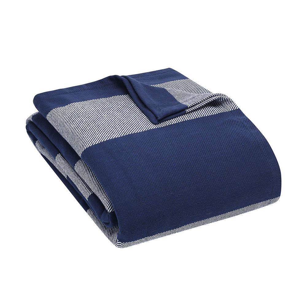 74477eb87506 Eddie Bauer Boylston Navy Blue 100% Cotton King Blanket 221687 - The ...