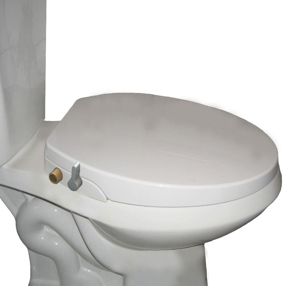 Non Electric Bidet Seat For Elongated Toilets In White