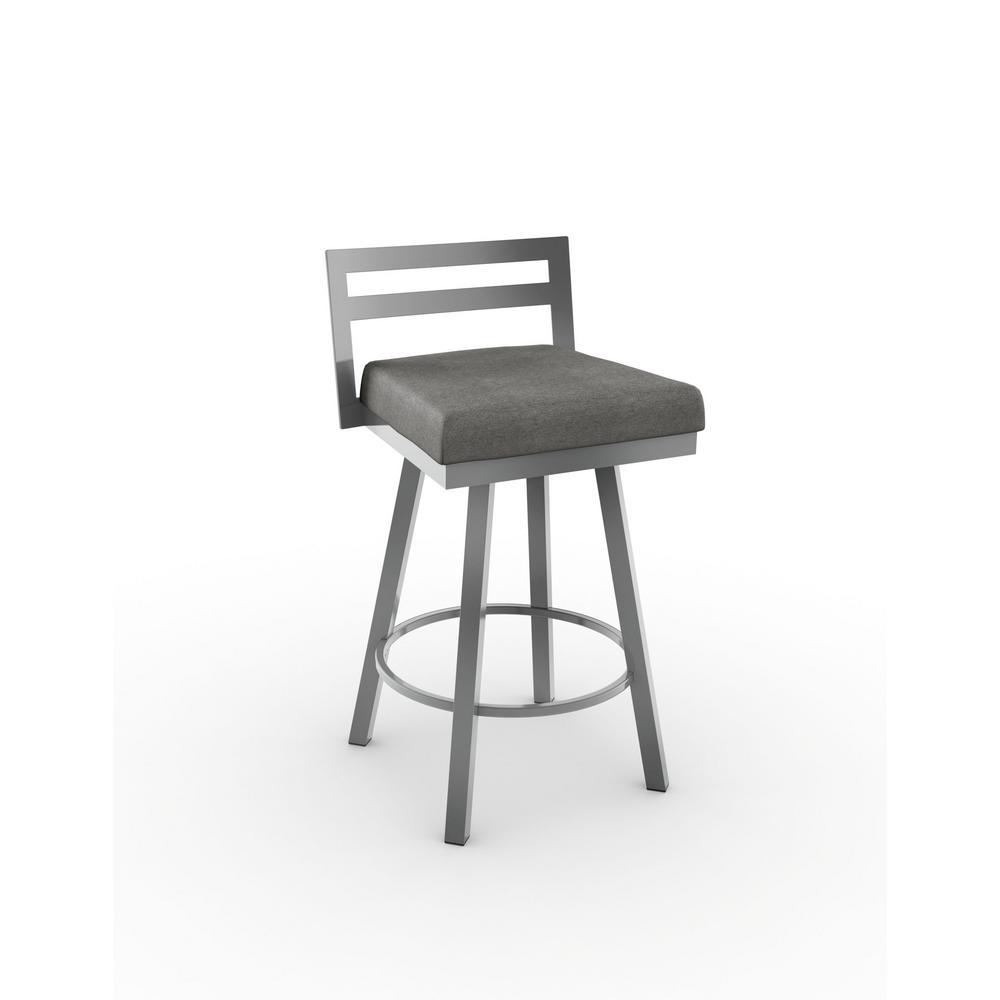Outstanding Derek 30 In Glossy Grey Metal Light Cold Grey Polyester Barstool Creativecarmelina Interior Chair Design Creativecarmelinacom