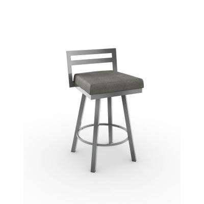Derek 26 in. Glossy Grey Metal Light Cold Grey Polyester Counter Stool