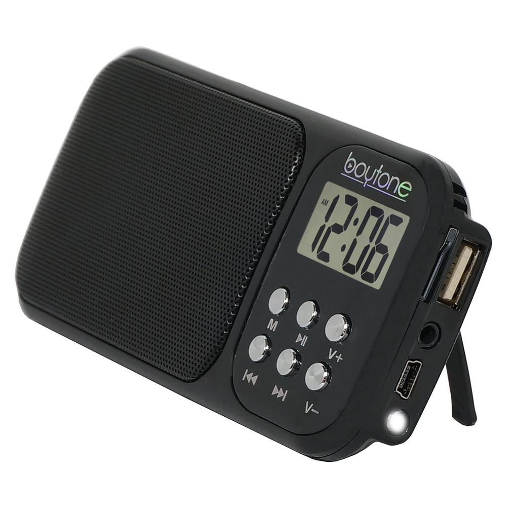 BT-92 Portable Alarm Clock Radio, Black