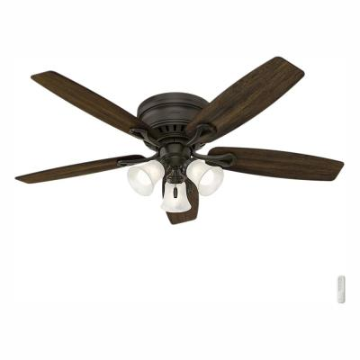 Oakhurst 52 in. LED Indoor Low Profile New Bronze Ceiling Fan with Light Kit and Bundled Handheld Remote Control