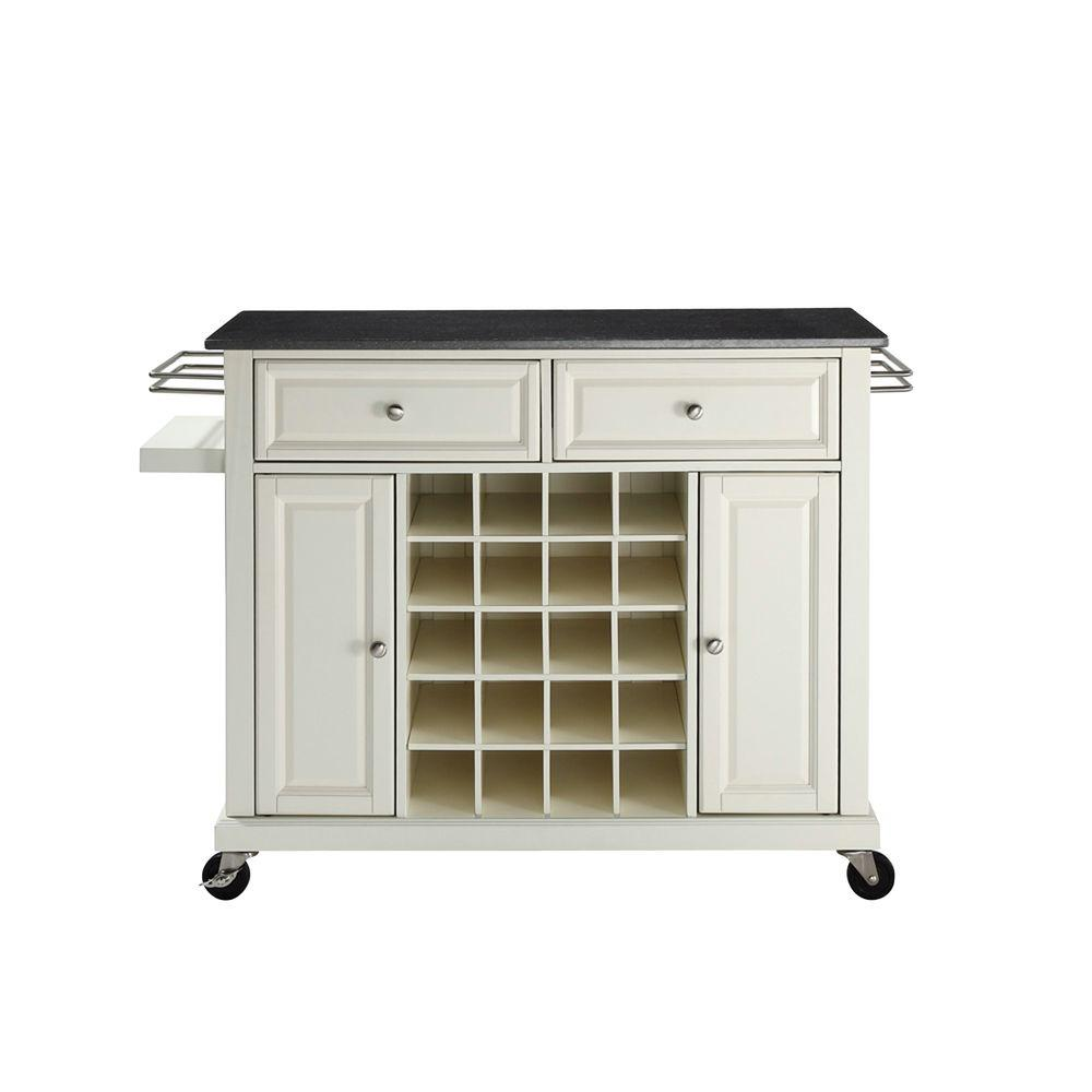 Crosley Solid Black Granite Top White Wine Cart
