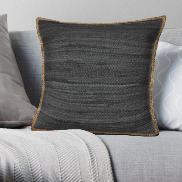 LR Home - Riley Dark Gray Solid Hypoallergenic Polyester 20 in. x 20 in. Throw Pillow