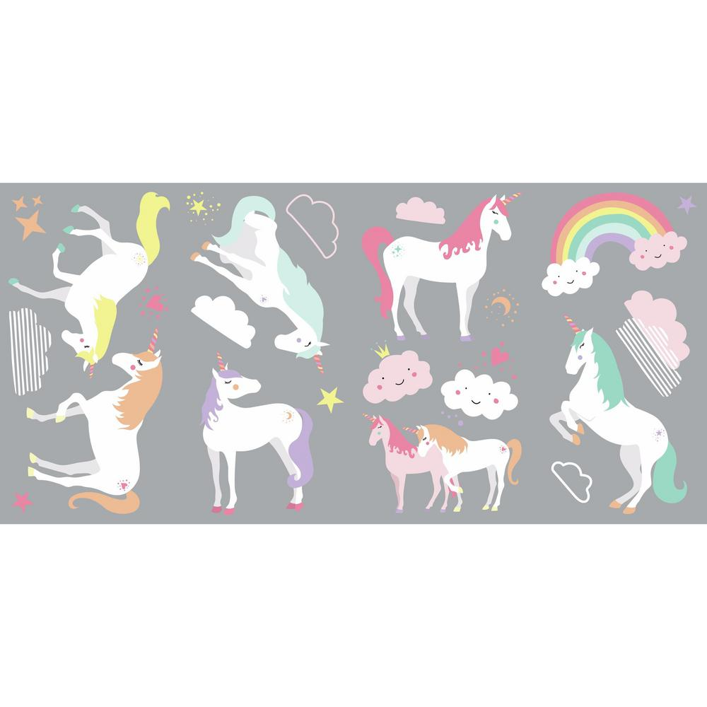 RoomMates RoomMates 5 in. x 11.5 in. Unicorn Magic 23-piece Peel And Stick Wall Decals, Pink