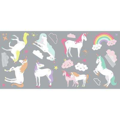 5 in. x 11.5 in. Unicorn Magic 23-piece Peel And Stick Wall Decals