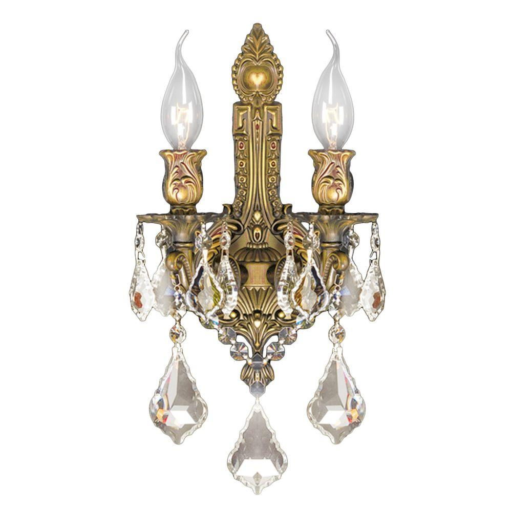 Worldwide lighting versailles 2 light french gold and golden teak worldwide lighting versailles 2 light french gold and golden teak crystal wall sconce light aloadofball Gallery