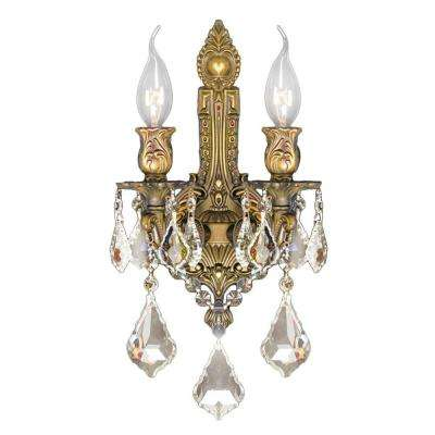 Versailles 2-Light French Gold and Golden Teak Crystal Wall Sconce Light
