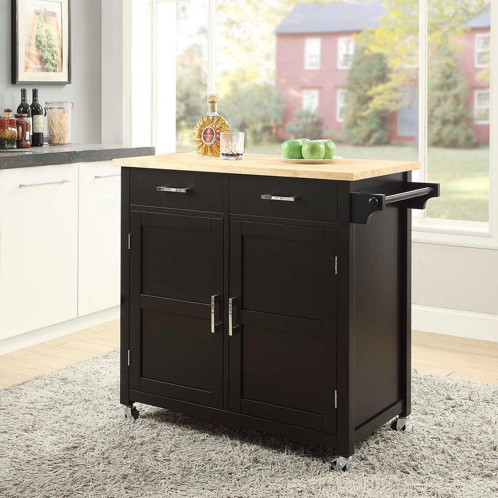 Usl Macie Black Small Kitchen Cart