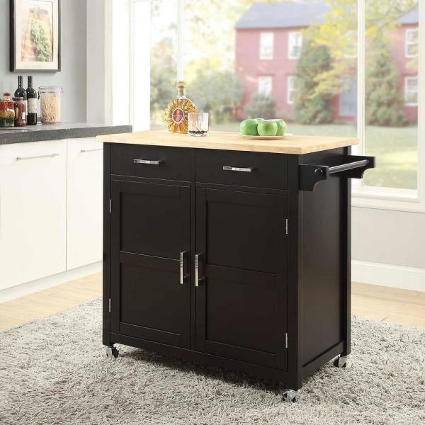 Usl Macie Black Small Kitchen Cart Sk19250a1 Bk The Home Depot