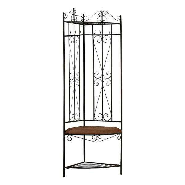 Kings Brand Furniture Black Metal Corner Hall Tree 20m The Home Depot