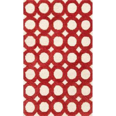 Weston Lifestyle Collection Ivory/Red 2 ft. 3 in. x 3 ft. 9 in. Accent Rug