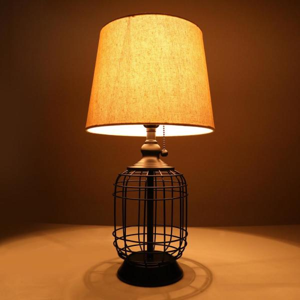 Merra 18 In Black Cage Table Lamp With Oatmeal Linen Shade Ptl 1712 Bk Bnhd 1 The Home Depot