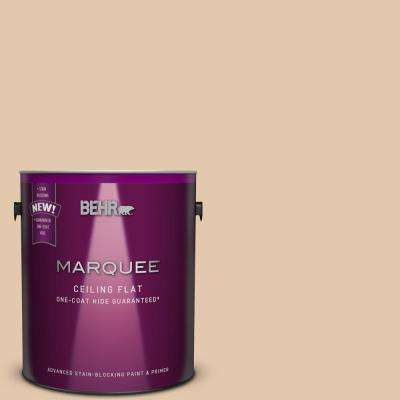 1 gal. #MQ2-08 Tinted to Irish Cream One-Coat Hide Flat Interior Ceiling Paint and Primer in One
