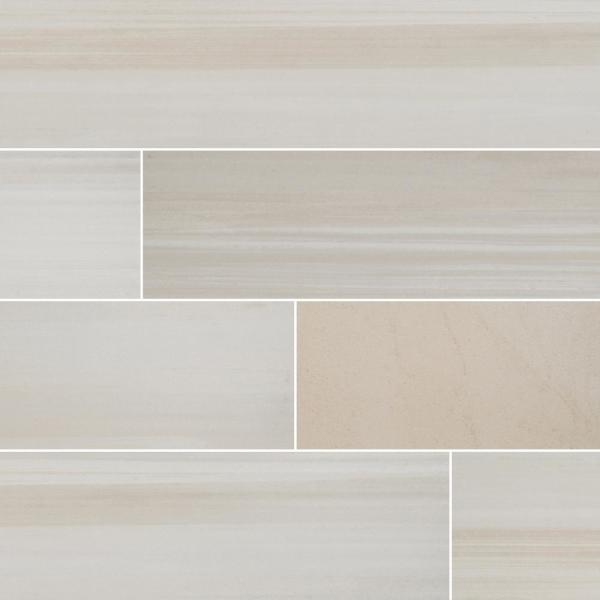 Water Color Bianco 6 in. x 36 in. Matte Porcelain Floor and Wall Tile (13.5 sq. ft. / case)