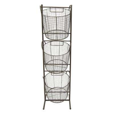 13.25 in. x 13 in. Metal Storage Rack in Black