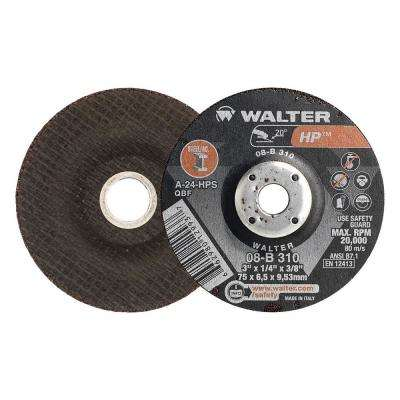 HP 3 in. x 3/8 in. Arbor x 1/4 in. T27 A-24-HPS Grinding Wheel (25-Pack)