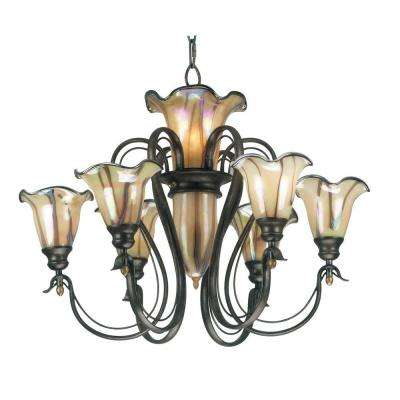 Inverness 9-Light Tuscan Silver Chandelier with Glass Shade