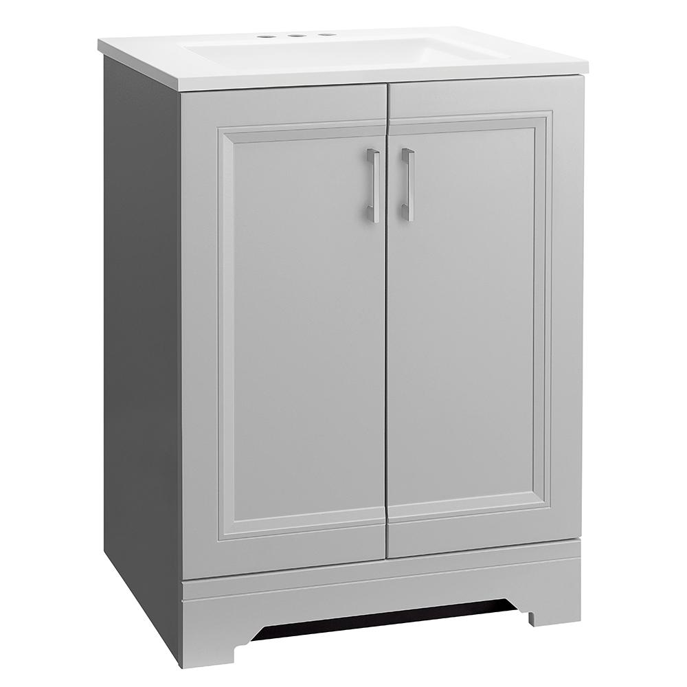 Glacier Bay Willowridge 24-1/2 in. W Bath Vanity in Dove Gray with Cultured Marble Vanity Top in White with White Sink
