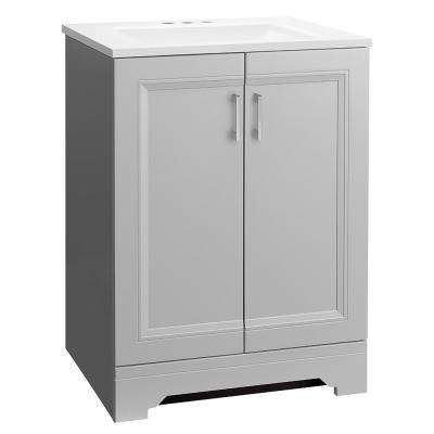 Willowridge 24-1/2 in. W Bath Vanity in Dove Gray with Cultured Marble Vanity Top in White with White Sink