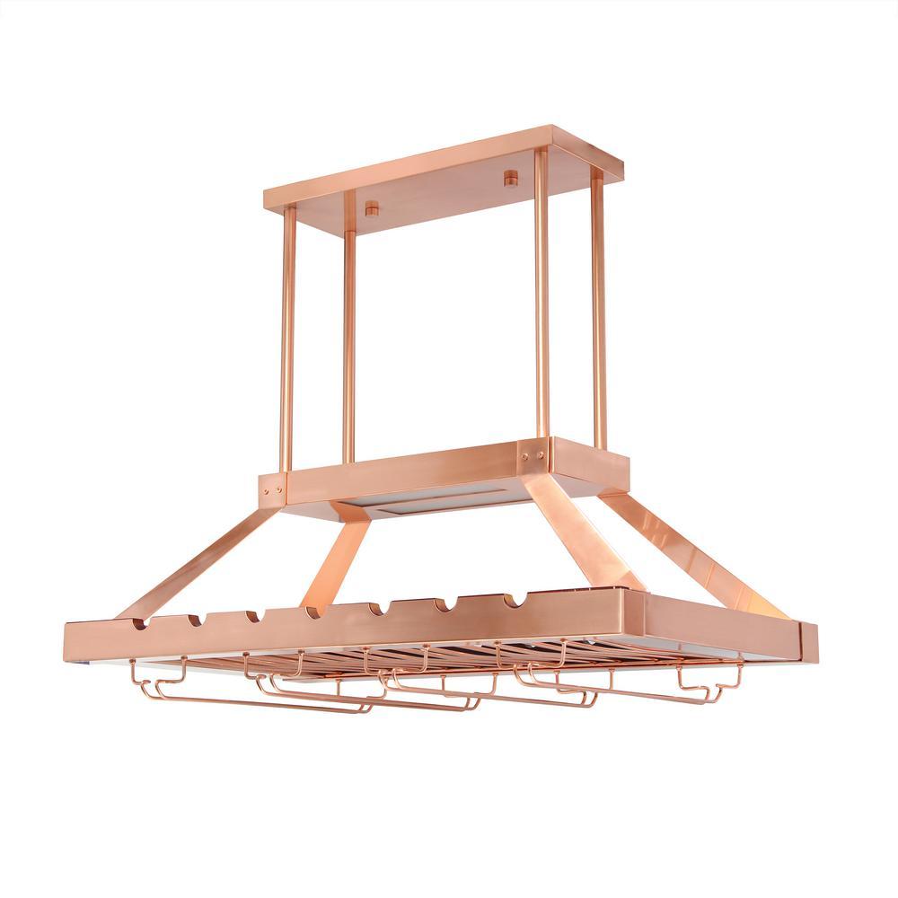 Elegant Designs 2 Light Copper LED Overhead Wine Rack
