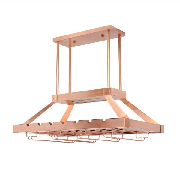 Elegant Designs 2 Light Copper LED Overhead Wine Rack