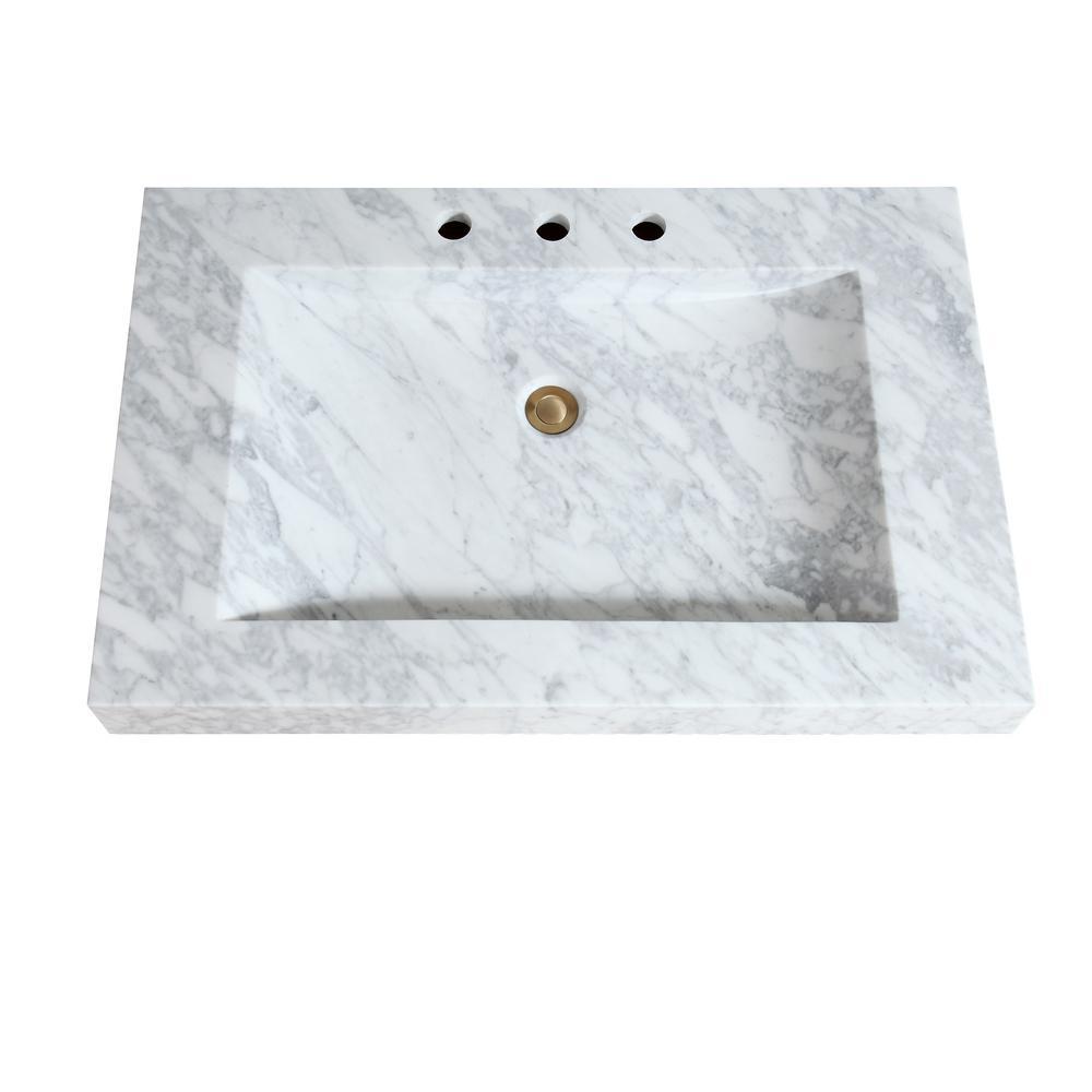 Avanity 33 In W X 22 D 3 H Stone Integrated Vanity Top Carrera White