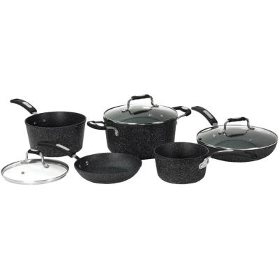Rock 8-Piece Aluminum Cookware Set with Bakelite Handles in Black