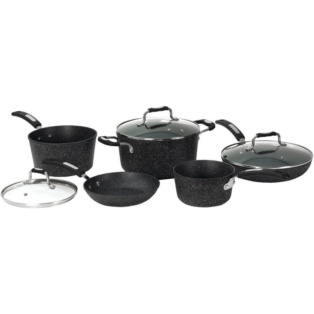 Rock 8-Piece Aluminum Cookware Set with Bakelite Handles in Black