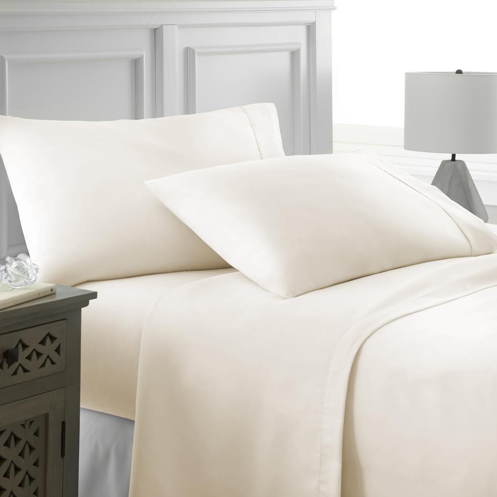 Performance Ivory King 4-Piece Bed Sheet Set