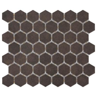 LuxeCraft Hexagon 10 in. x 12 in. x 6.35mm Obsidian Black Glazed Ceramic Mosaic Tile (0.81 sq. ft. / piece)