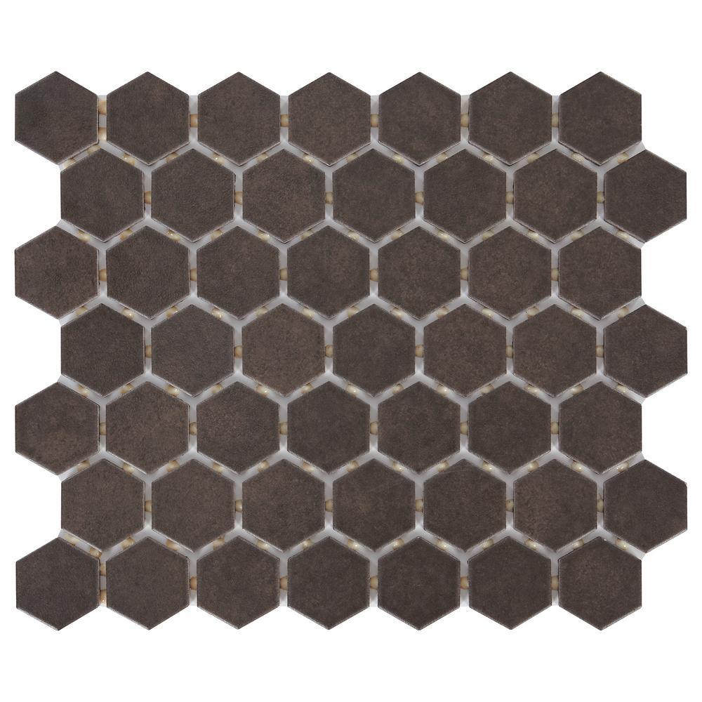 LuxeCraft Hexagon 10 in. x 12 in. x 6.35mm Obsidian Black Glazed Ceramic Mosaic Tile (0.81 sq. ft. / piece)