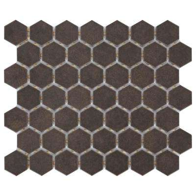 LuxeCraft Obsidian Black Hexagon 10 in. x 12 in. x 6.35mm Glazed Ceramic Mosaic Tile (0.81 sq. ft. / piece)