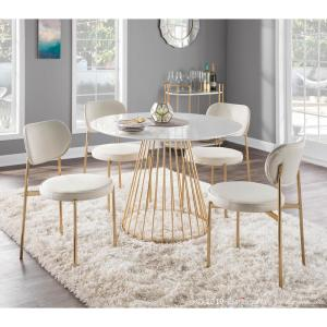 Tremendous Lumisource Chloe Cream Satin And Gold Dining Chair Set Of 2 Caraccident5 Cool Chair Designs And Ideas Caraccident5Info