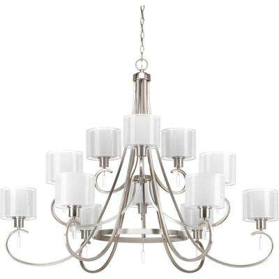 Invite Collection 12-Light Brushed Nickel Chandelier with Shade