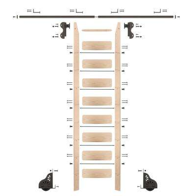 9 ft. Maple Library Ladder (10 ft. Reach) Bronze Rolling Hook Ladder Kit with 8 ft. Rail and Horizontal Brackets