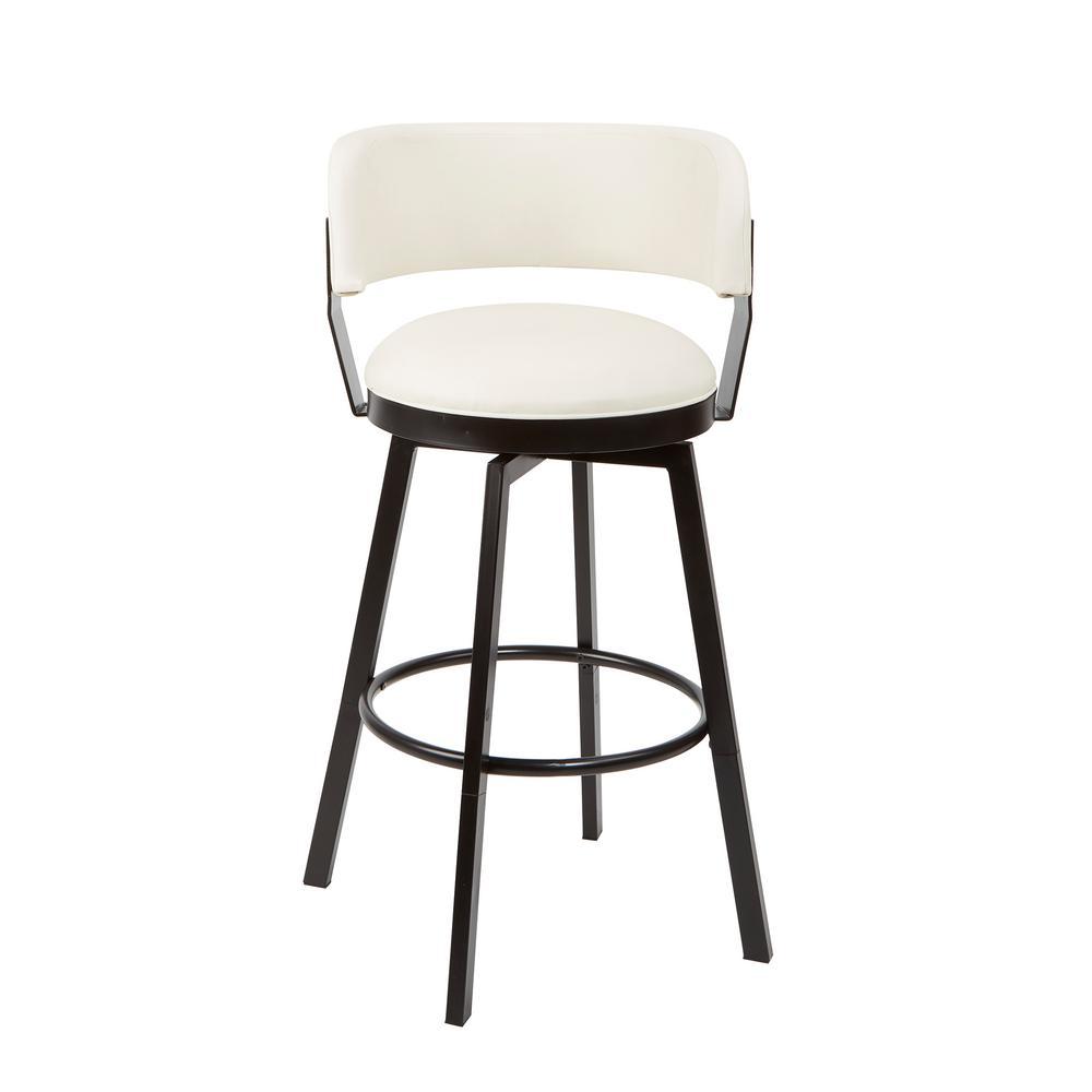 Everett Adjustable 24 in. - 29 in. White Upholstered Swivel Bar Stool