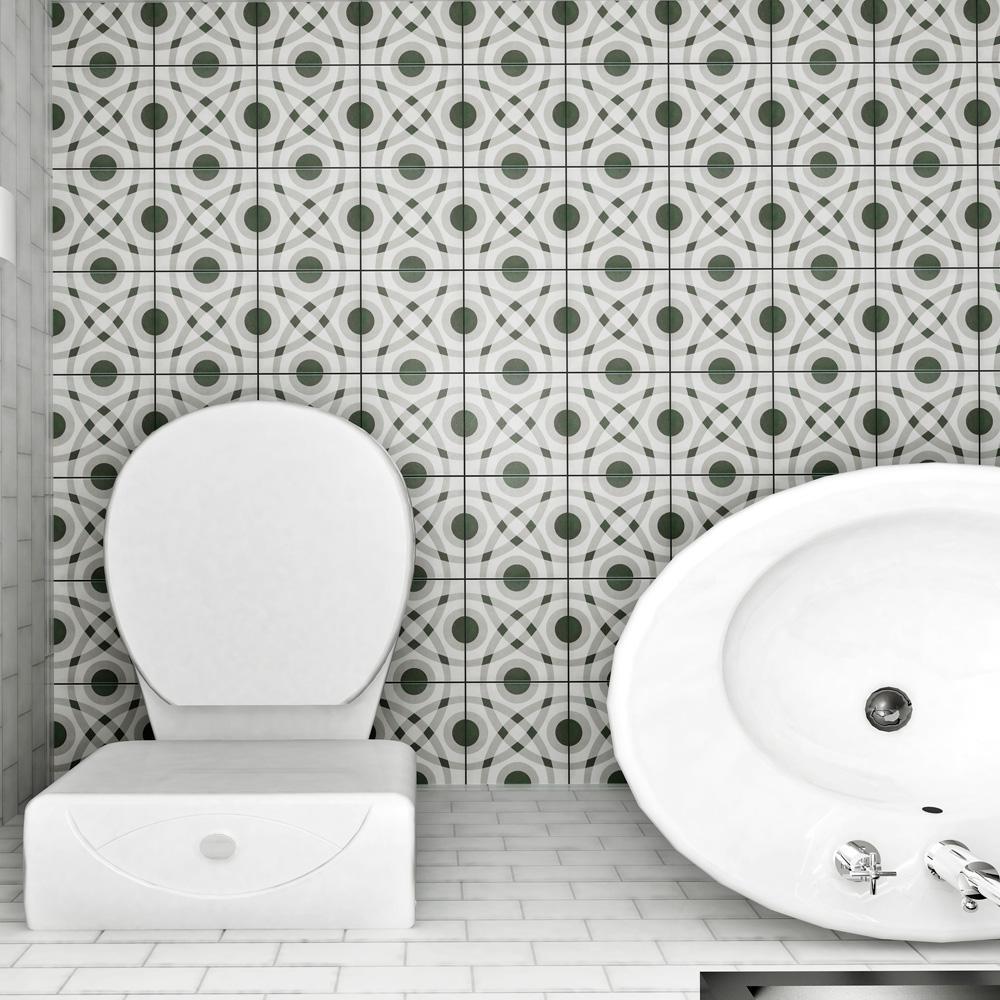 Twenties Circle Encaustic 7-3/4 in. x 7-3/4 in. Ceramic Floor and Wall Tile