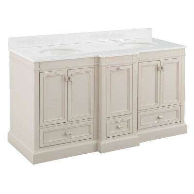 Braylee 61 in. W x 24 in. D Vanity Cabinet in Rainy Day with Engineered Stone Vanity Top in White with White Basin