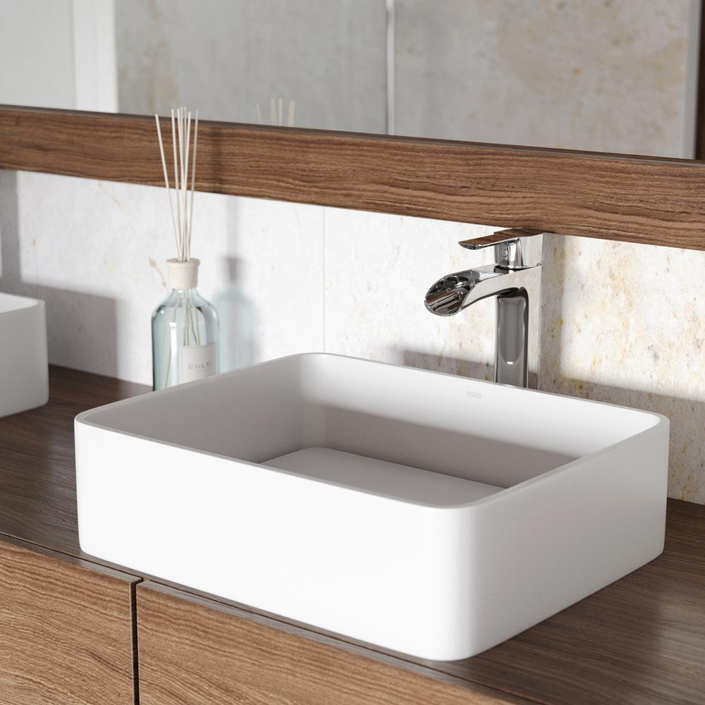 Jasmine Matte Stone Vessel Sink in White with Niko Vessel Faucet