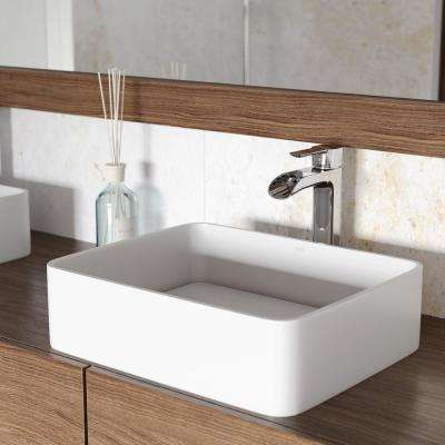 Jasmine Matte Stone Vessel Sink in White with Niko Vessel Faucet in Chrome