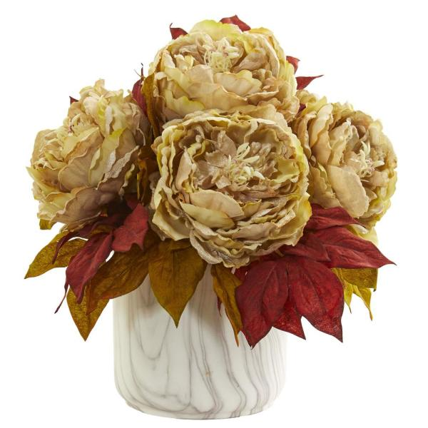 Nearly Natural Indoor Peony Artificial Arrangement in Marble Vase 1835-CR