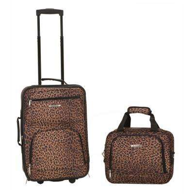 Rockland Rio Expandable 2-Piece Carry On Softside Luggage Set, Leopard