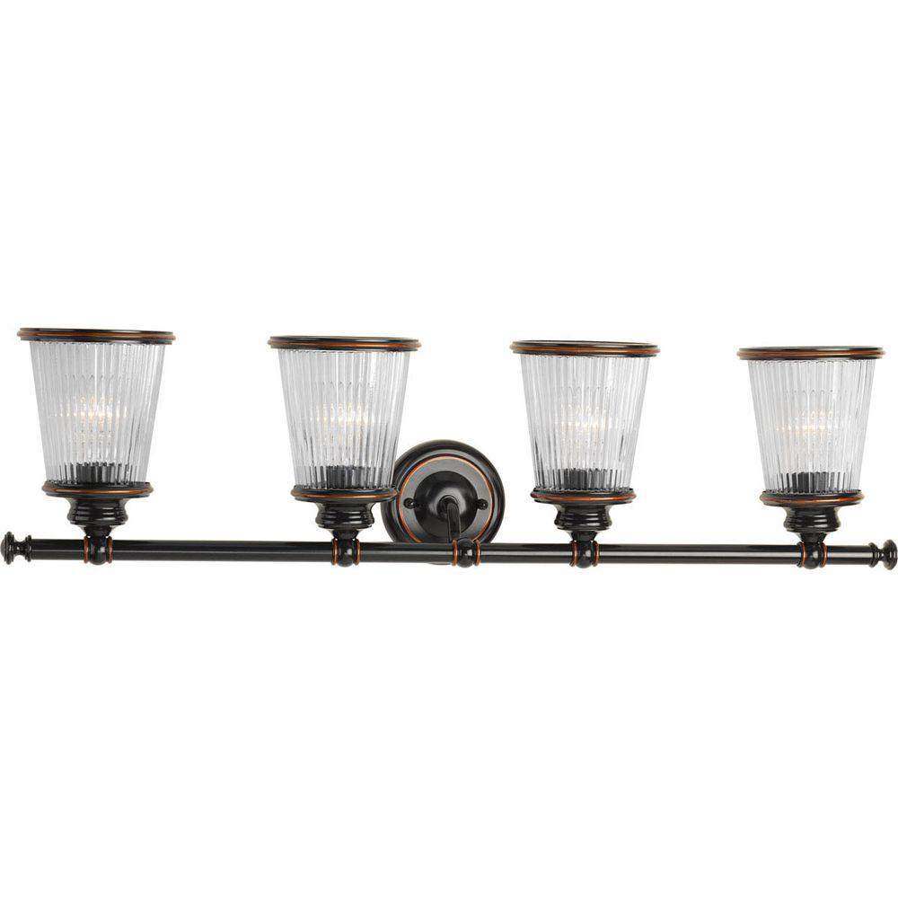 Radiance Collection 4-Light Rubbed Bronze Vanity Light with Clear Ribbed Glass