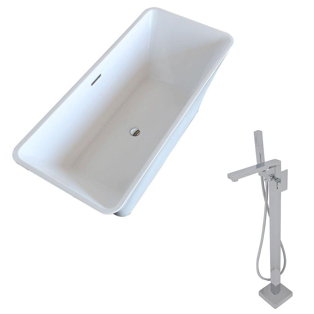 Arden 5.5 ft. Acrylic Classic Freestanding Flatbottom Non-Whirlpool Bathtub in