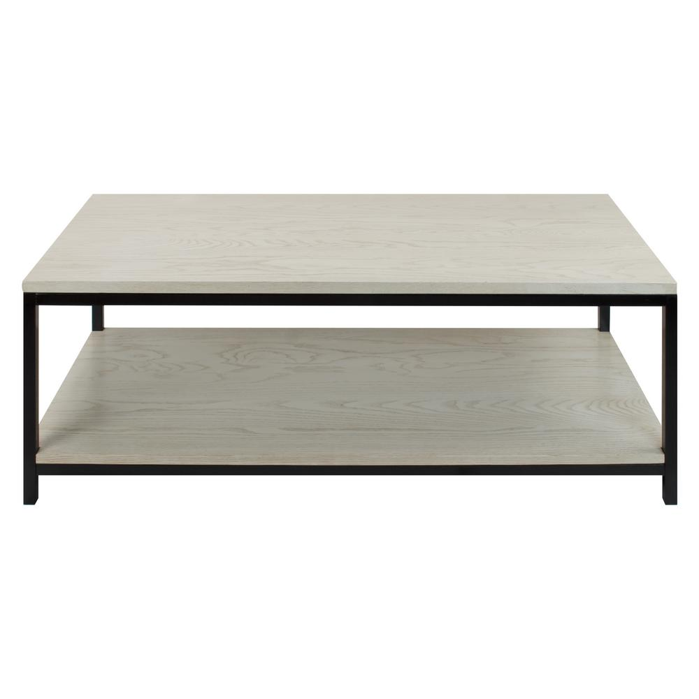 American Trails Studio White Washed Solid Red Oak Top Shelf Coffee Table