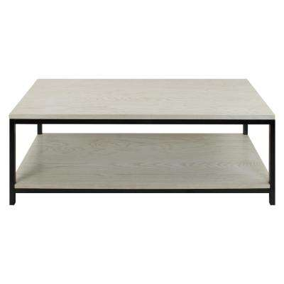Studio White Washed Solid Red Oak Top/Shelf Coffee Table