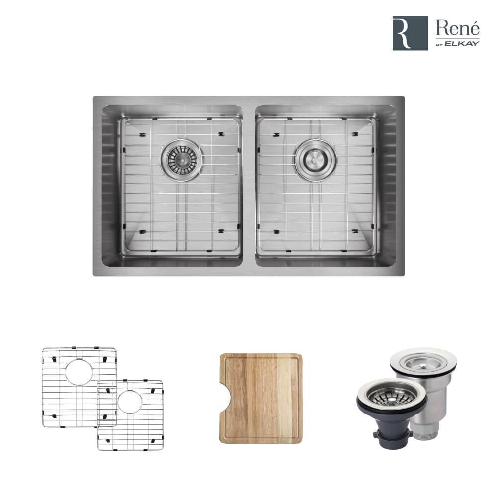 Undermount Stainless Steel 31 in. Double Bowl Kitchen Sink