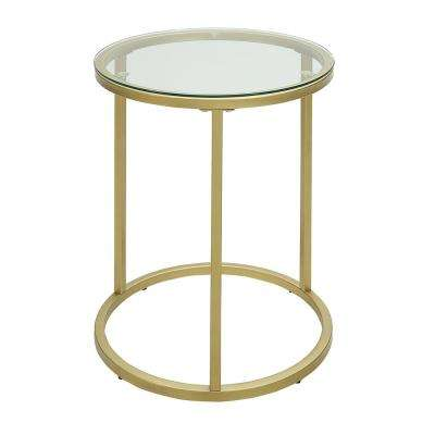 Kinston Gold Glass Top Accent Table